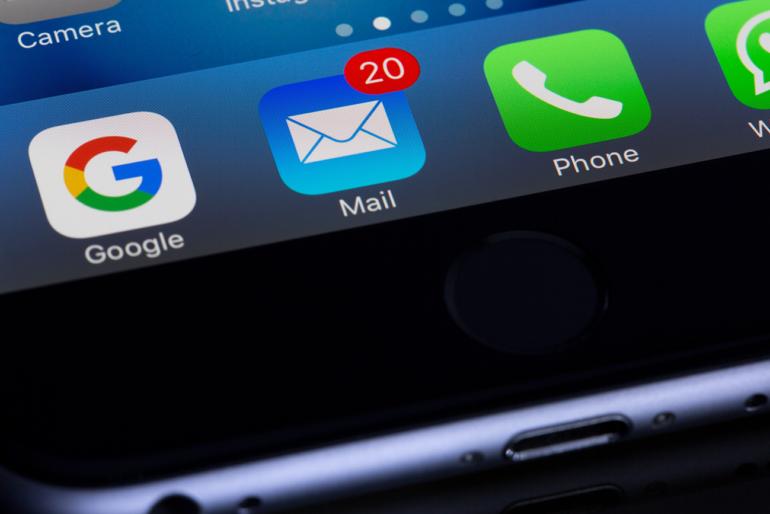 Imagem de ícones do Gmail, E-mail Microsoft e Telefone