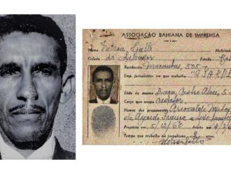 Nélson Gallo em foto 3x4 e ficha de admissão na ABI em 1960/Arquivo ABI
